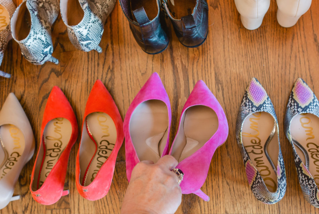 brightly colored high heeled shoes